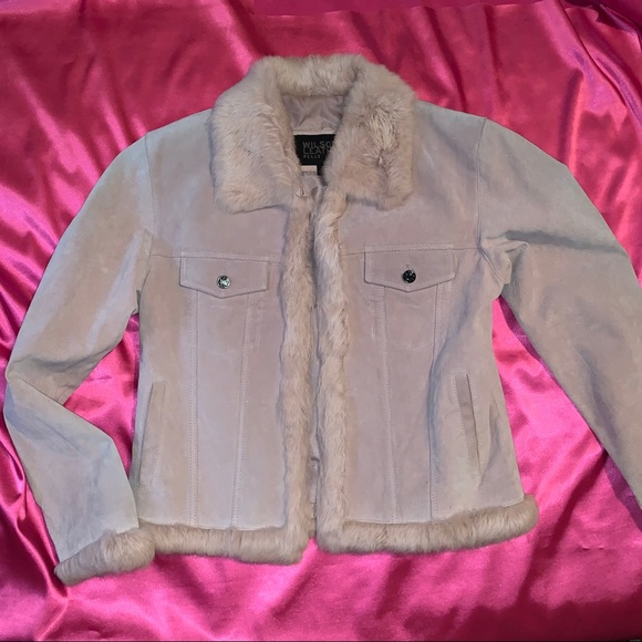 Pink jacket With Faux Fur Trim
